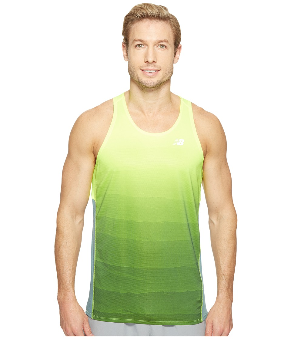 New Balance - Accelerate Graphic Singlet Top (Hi-Lite Print/Typhoon) Men's Sleeveless