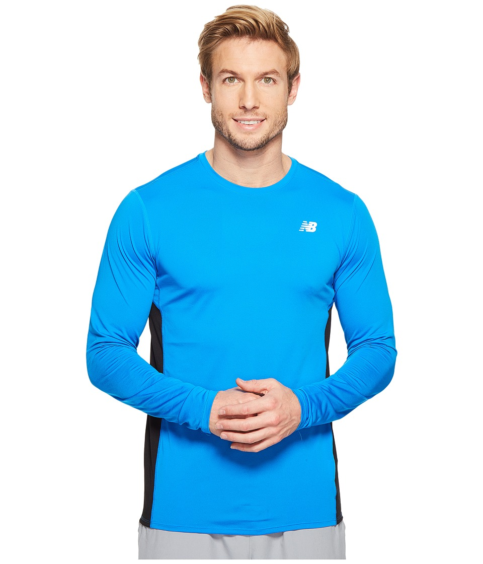 New Balance - Accelerate Long Sleeve Shirt (Electric Blue/Black) Men's Long Sleeve Pullover