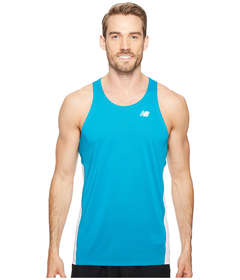 New Balance - Accelerate Singlet (Deep Ozone Blue/White) Men's Sleeveless