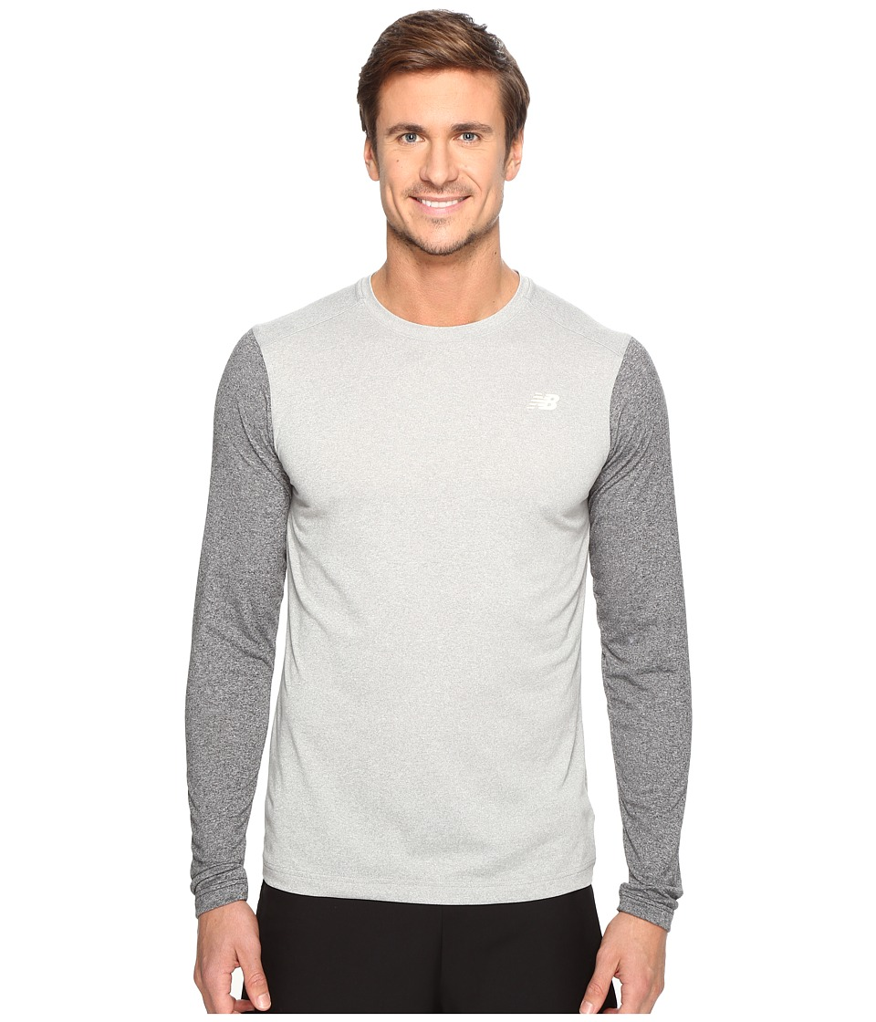 New Balance - Long Sleeve Heather Tech Tee (Athletic Grey/Black Heather) Men's Long Sleeve Pullover