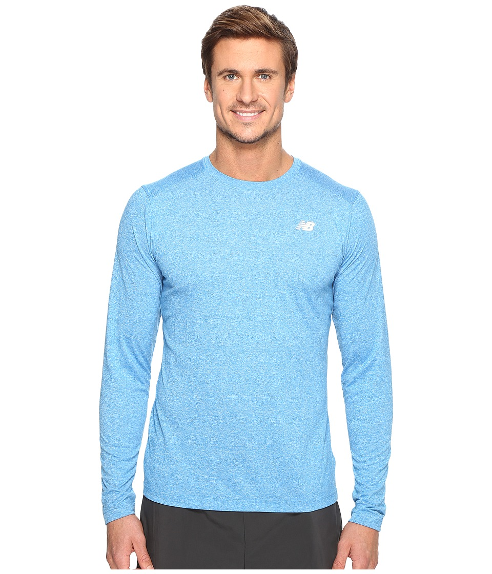 New Balance - Long Sleeve Heather Tech Tee (Electric Blue Heather) Men's Long Sleeve Pullover