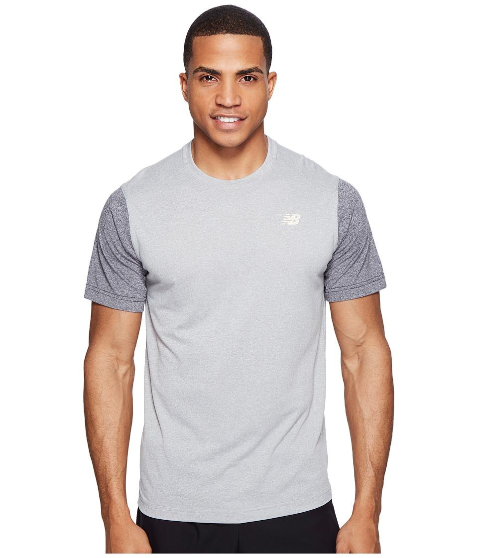 New Balance Short Sleeve Heather Tech Tee (Athletic Grey/Black Heather) Men