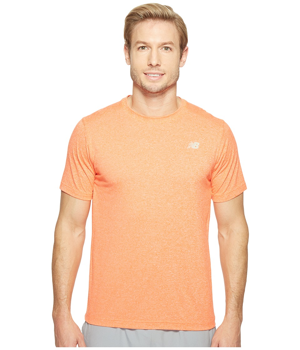 New Balance - Short Sleeve Heather Tech Tee (Alpha Orange Heather) Men's T Shirt