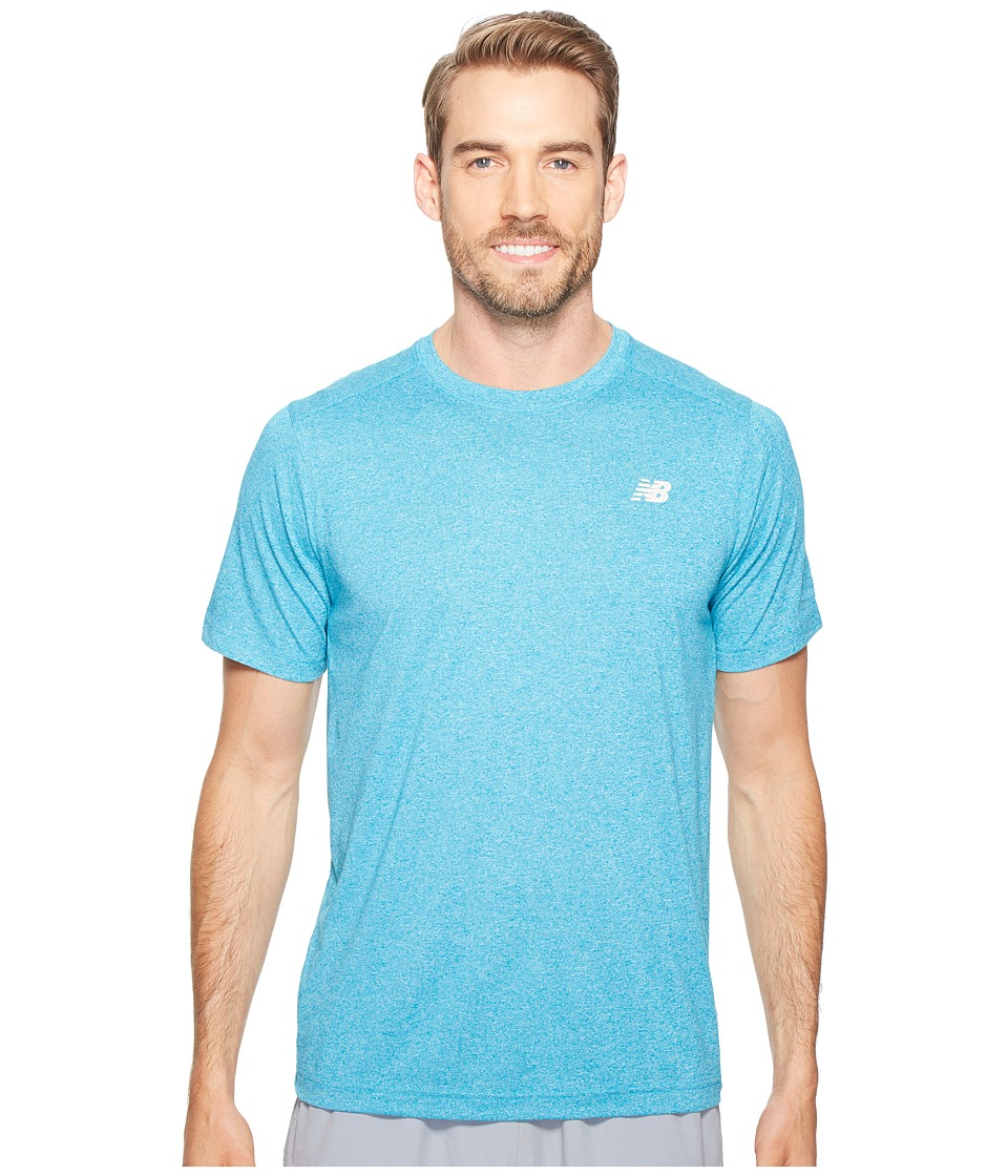 New Balance - Short Sleeve Heather Tech Tee (Deep Ozone Blue Heather) Men's T Shirt