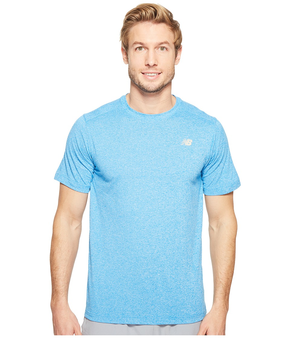 New Balance - Short Sleeve Heather Tech Tee (Electric Blue Heather) Men's T Shirt