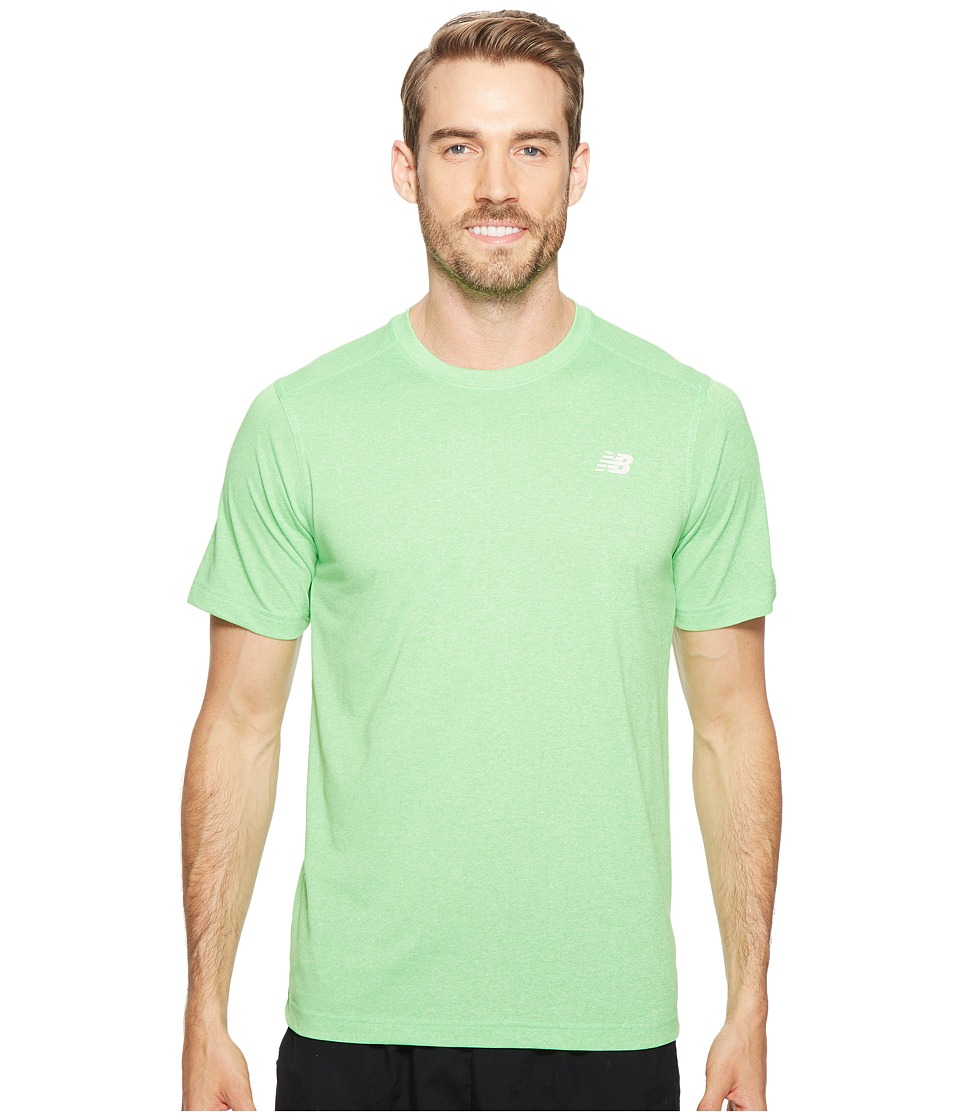 New Balance - Short Sleeve Heather Tech Tee (Vivid Cactus Heather) Men's T Shirt