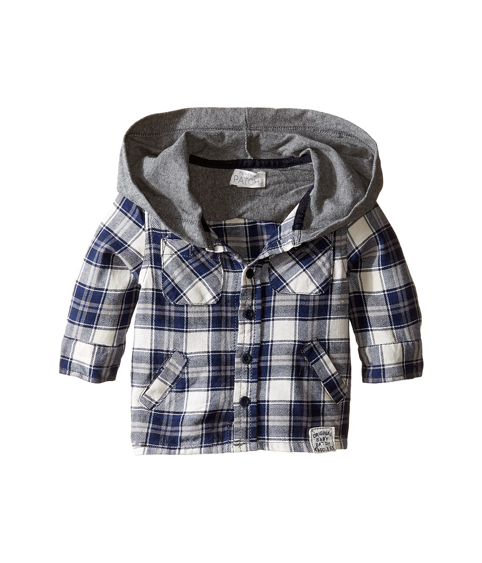 Pumpkin Patch Kids - Hooded Check Shirt (Infant) (Concrete Marle) Boy's Clothing