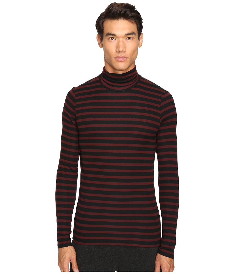 ATM Anthony Thomas Melillo - Striped Long Sleeve Rib Turtleneck Sweater (Rust/Black Stripe) Men's Sweater