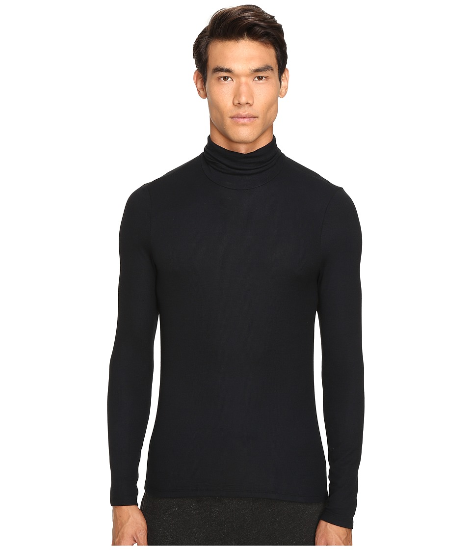 ATM Anthony Thomas Melillo - Long Sleeve Rib Turtleneck Sweater (Black) Men's Sweater
