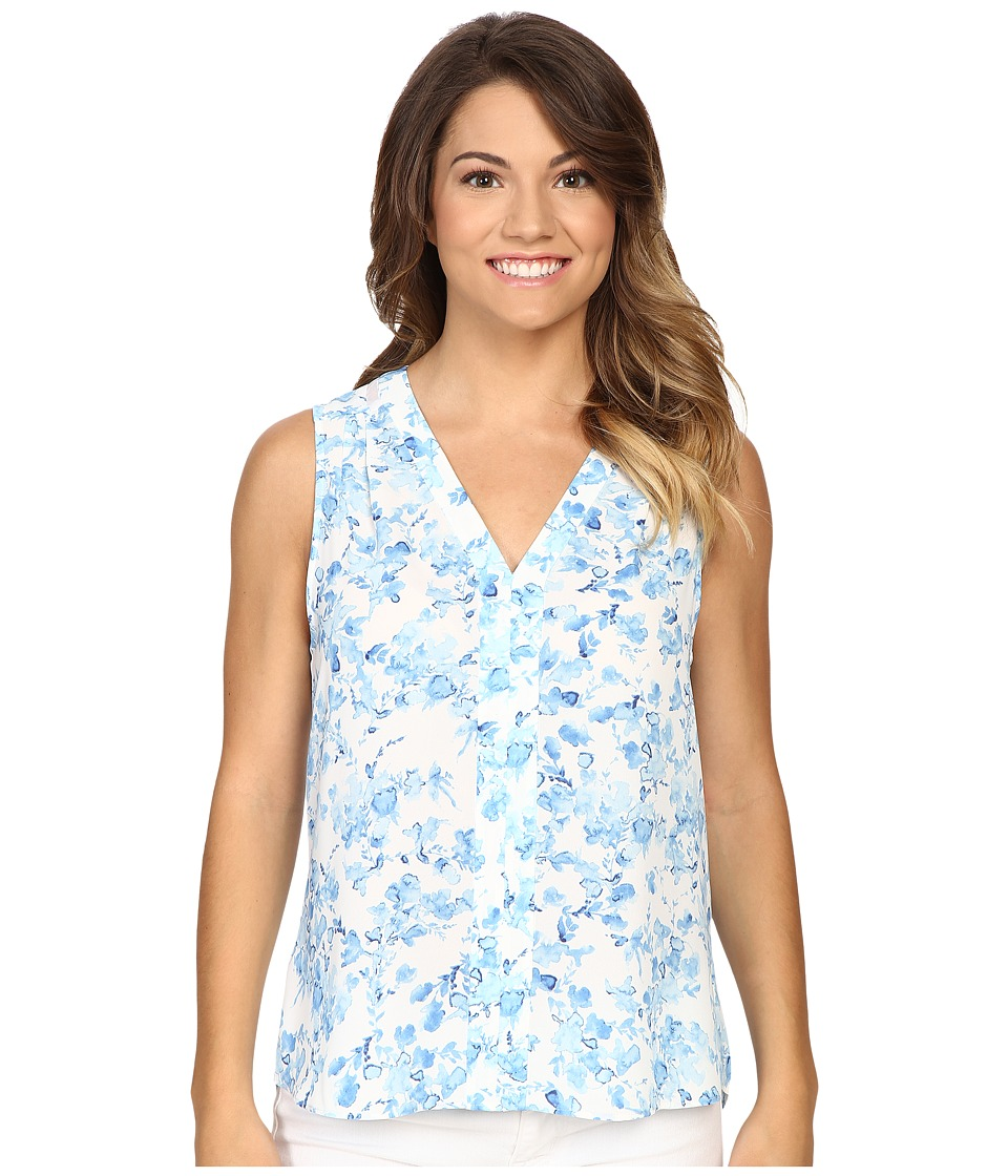 NYDJ Petite - Petite Printed Sleeveless Blouse (Blue Waves Garden) Women's Blouse