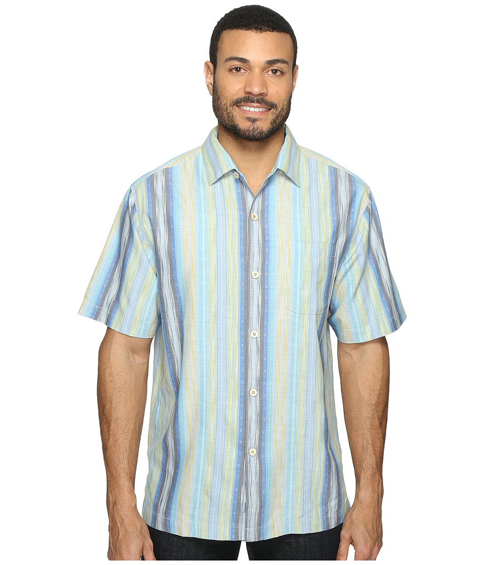 Tommy Bahama - Cabo Frio Stripe Short Sleeve Woven Shirt (Download Blue) Men's Short Sleeve Button Up