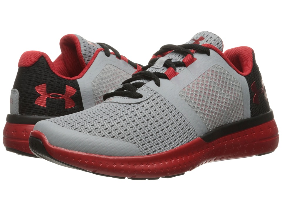 Under Armour Kids - UA Micro G Fuel RN (Big Kid) (Overcast Grey/Black/Red) Boys Shoes