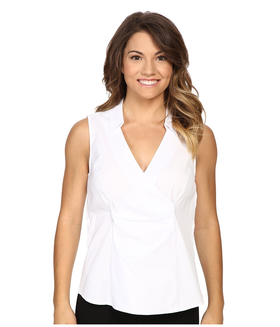 NYDJ Petite - Petite Sleeveless Stretch Cotton Poplin Wrap Blouse (Optic White) Women's Blouse
