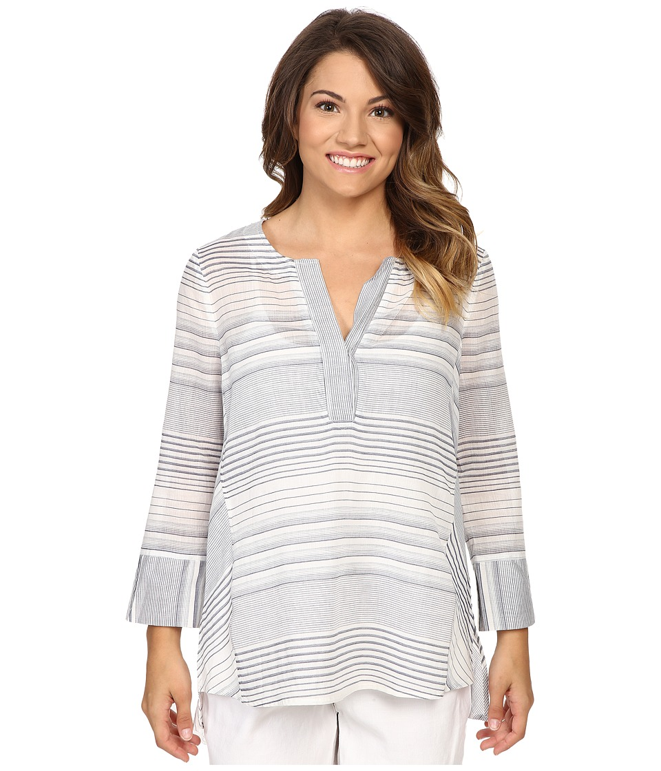 NYDJ Petite - Petite Striped Tunic (Champion Navy) Women's Blouse