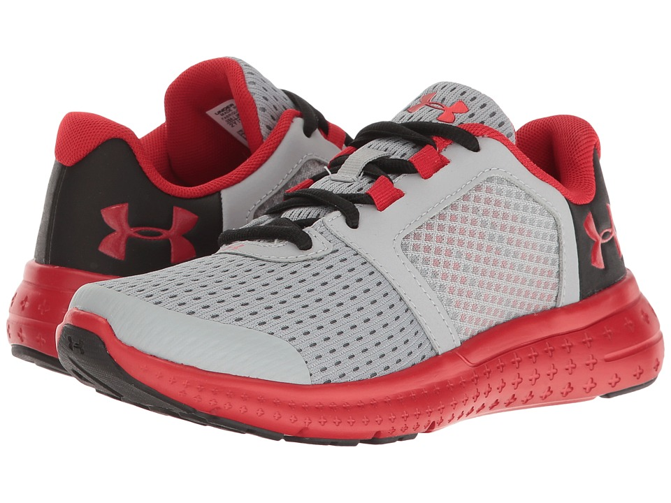 Under Armour Kids - UA Micro G Fuel RN (Little Kid) (Overcast Grey/Black/Red) Boys Shoes