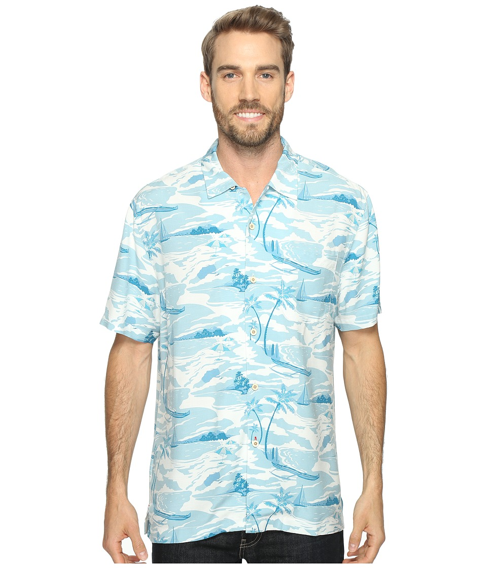 Tommy Bahama - Ohana Outrigger Short Sleeve Woven Shirt (Maui Blue) Men's Short Sleeve Button Up