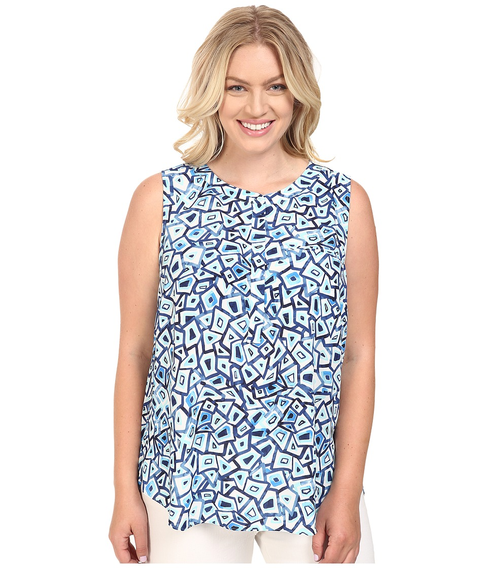 NYDJ Plus Size - Plus Size Key Item Sleeveless Sleeve Pleat Back Blouse (Turtle Bay Aqua Salt) Women's Blouse