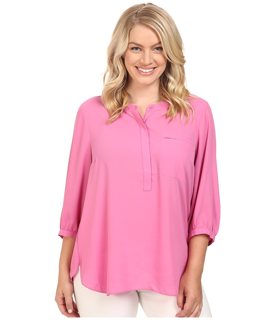 NYDJ Plus Size - Plus Size Solid 3/4 Sleeve Pleat Back (Pink Lemonade) Women's Long Sleeve Button Up