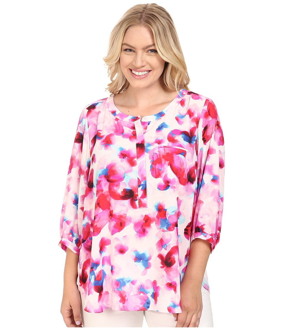 NYDJ Plus Size - Plus Size Solid 3/4 Sleeve Pleat Back (Marseille Floral Neon Pop) Women's Long Sleeve Button Up