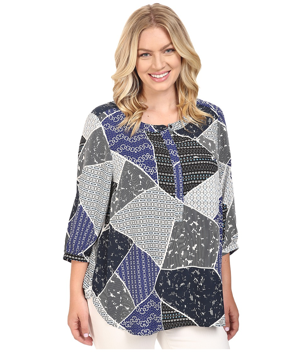 NYDJ Plus Size - Plus Size Solid 3/4 Sleeve Pleat Back (Cote D'Azure Patchwork Blue) Women's Long Sleeve Button Up