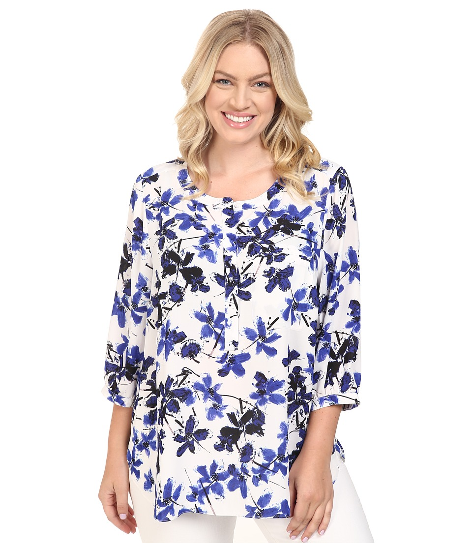 NYDJ Plus Size - Plus Size Solid 3/4 Sleeve Pleat Back (Miramar Floral Blue) Women's Long Sleeve Button Up