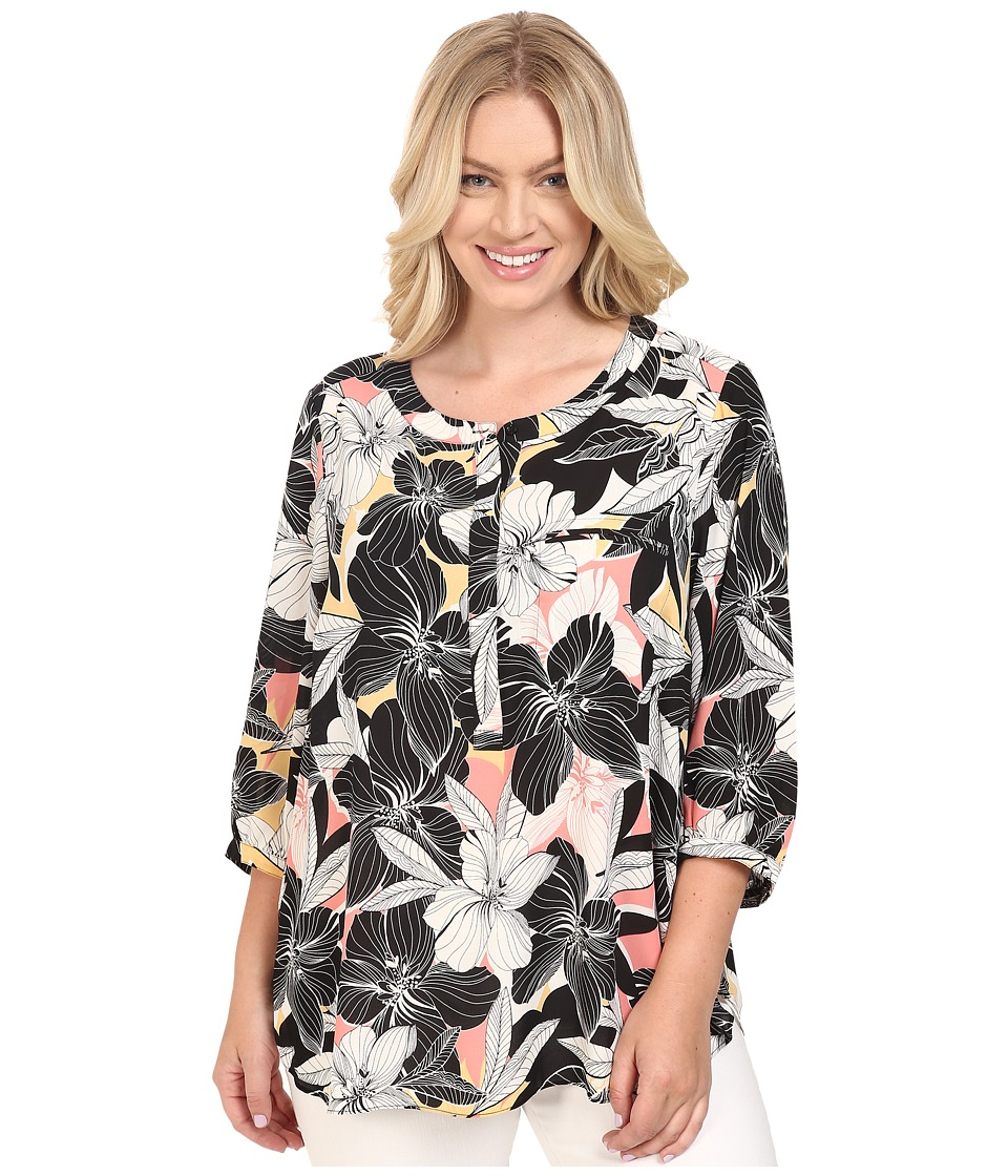 NYDJ Plus Size - Plus Size Solid 3/4 Sleeve Pleat Back (Floral Mirage Pink Lemonade) Women's Long Sleeve Button Up