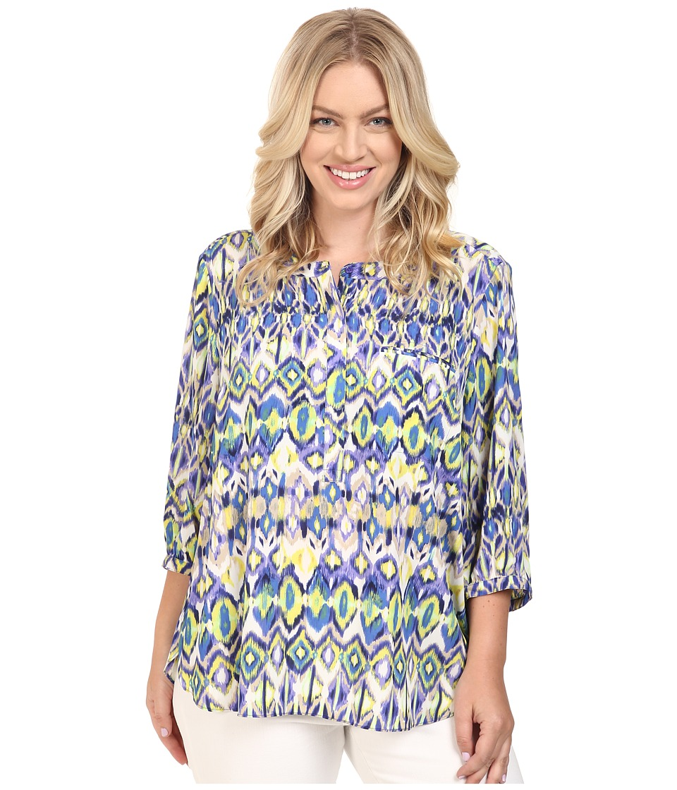 NYDJ Plus Size - Plus Size Solid 3/4 Sleeve Pleat Back (Ivory Coast Ikat Blue) Women's Long Sleeve Button Up