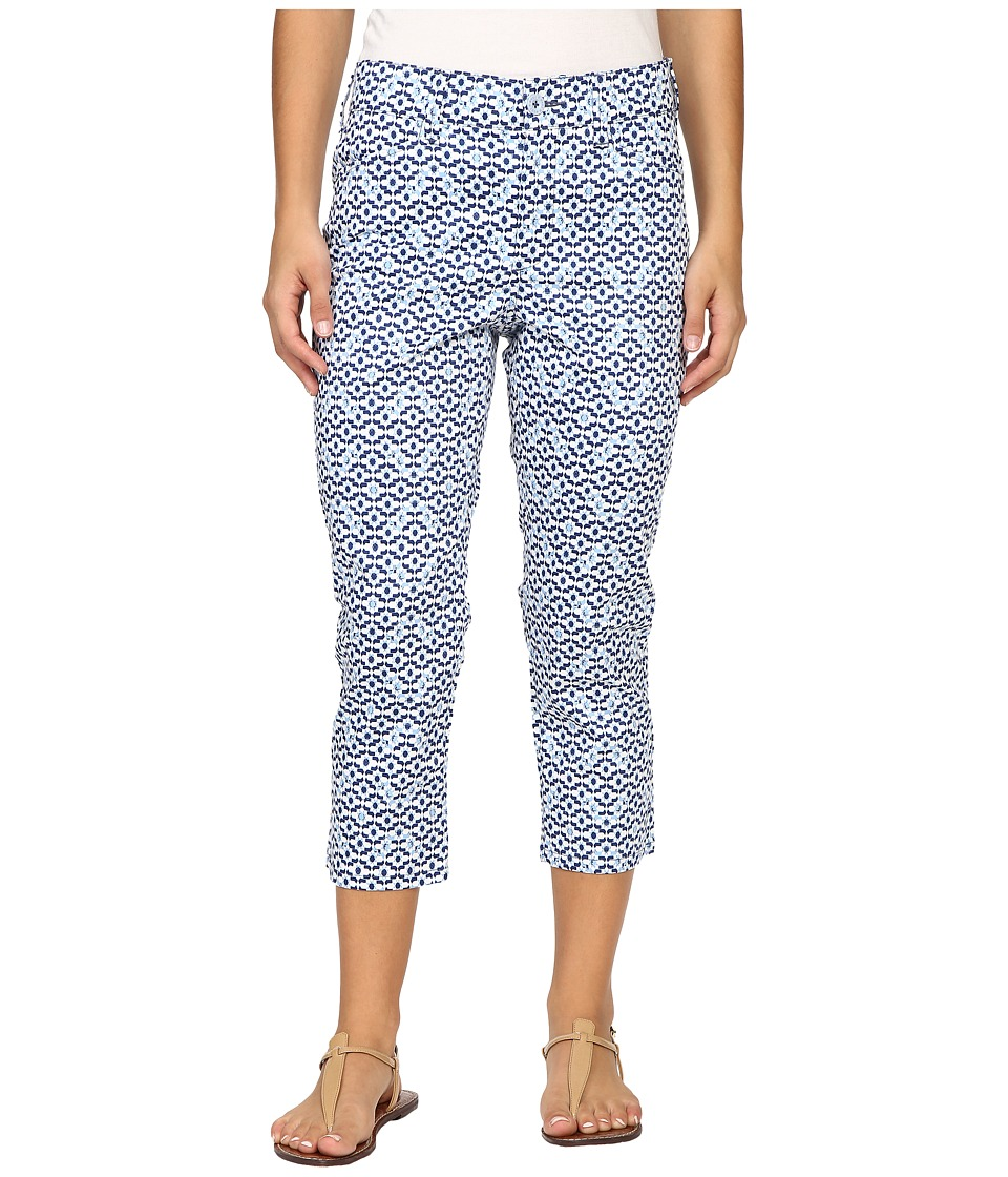 NYDJ Petite - Petite Karen Capri in Printed Stretch Sateen (Moorish Tile Blue) Women's Casual Pants