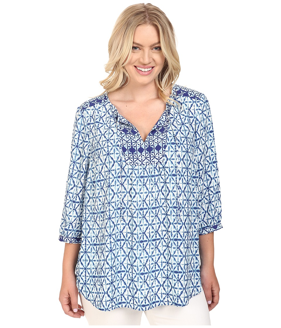 NYDJ Plus Size - Plus Size Patch Work Mosaic Blouse (Diamond Tie-Dye Large Blue) Women's Blouse
