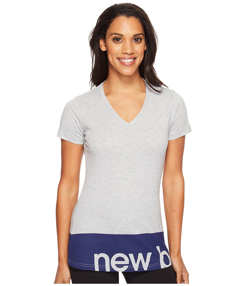 New Balance Classic V-Neck Tee (Athletic Grey) Women