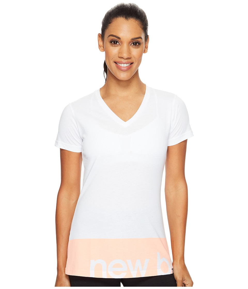New Balance - Classic V-Neck Tee (White) Women's T Shirt