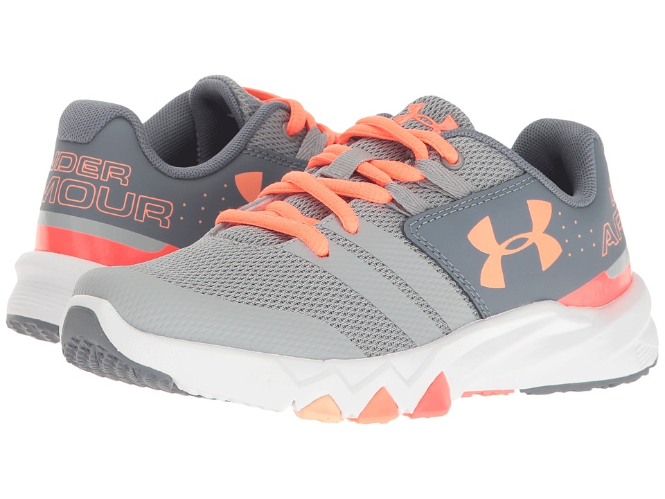 Under Armour Kids - UA GPS Primed (Little Kid) (Overcast Grey/Gravel/London Orange) Girls Shoes