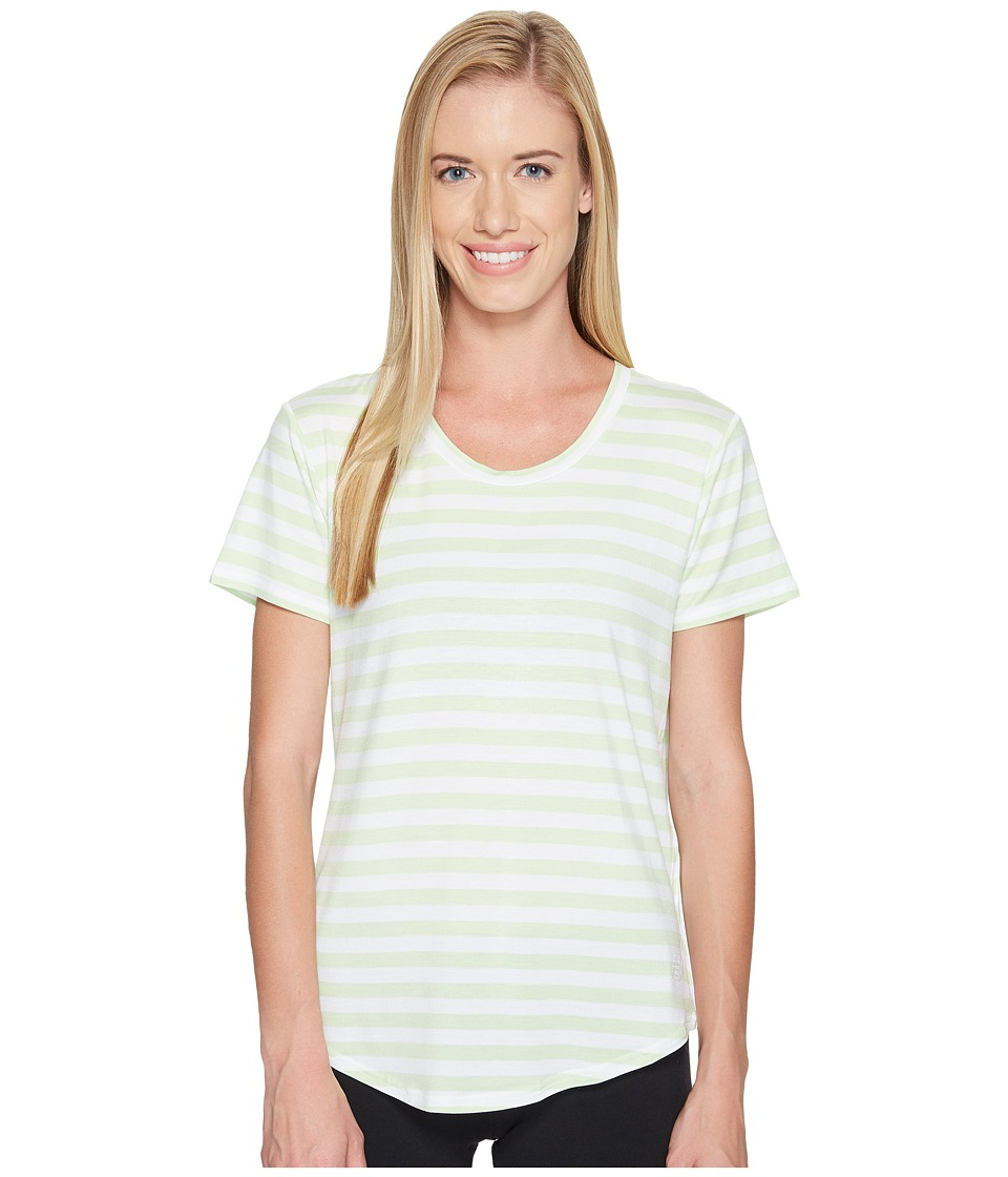 New Balance - Stripe Scoop Neck Tee (Blade Green) Women's Short Sleeve Pullover