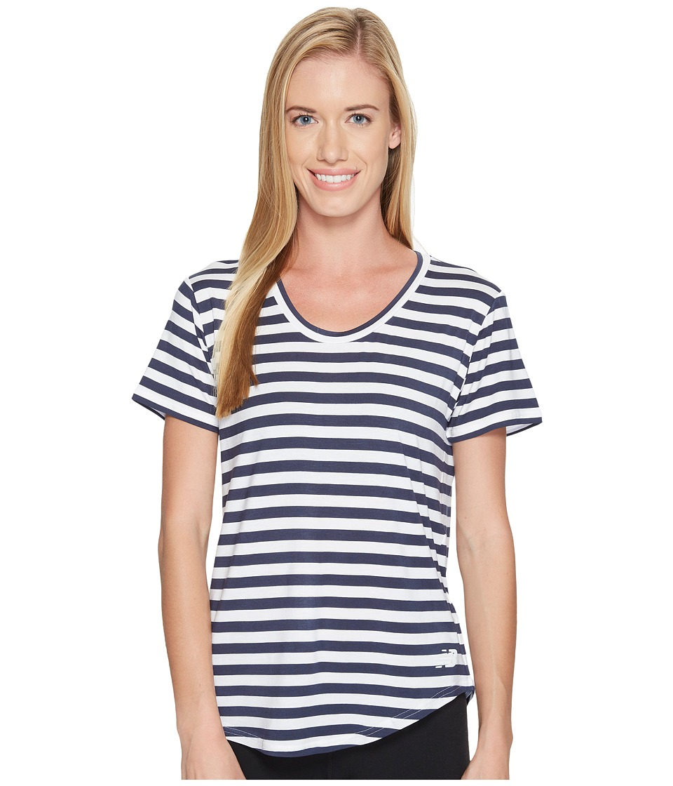 New Balance - Stripe Scoop Neck Tee (Navy) Women's Short Sleeve Pullover