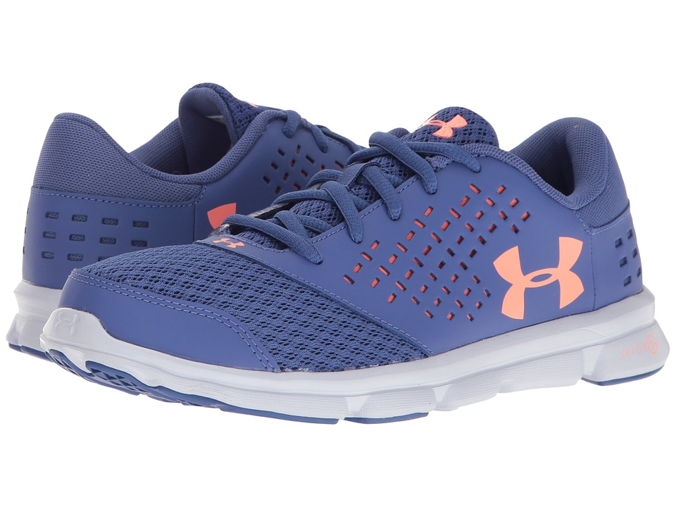 Under Armour Kids - UA Micro Rave Run (Big Kid) (Deep Periwinkle/White/London Orange) Girls Shoes