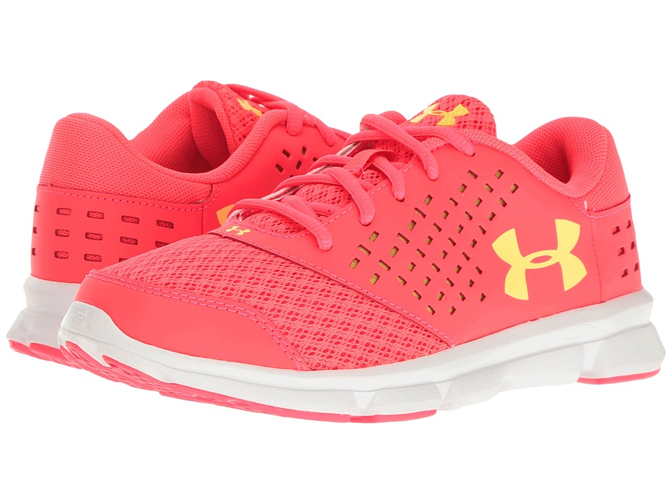 Under Armour Kids - UA Micro Rave Run (Little Kid) (Sirens Coral/White/Tokyo Lemon) Girls Shoes