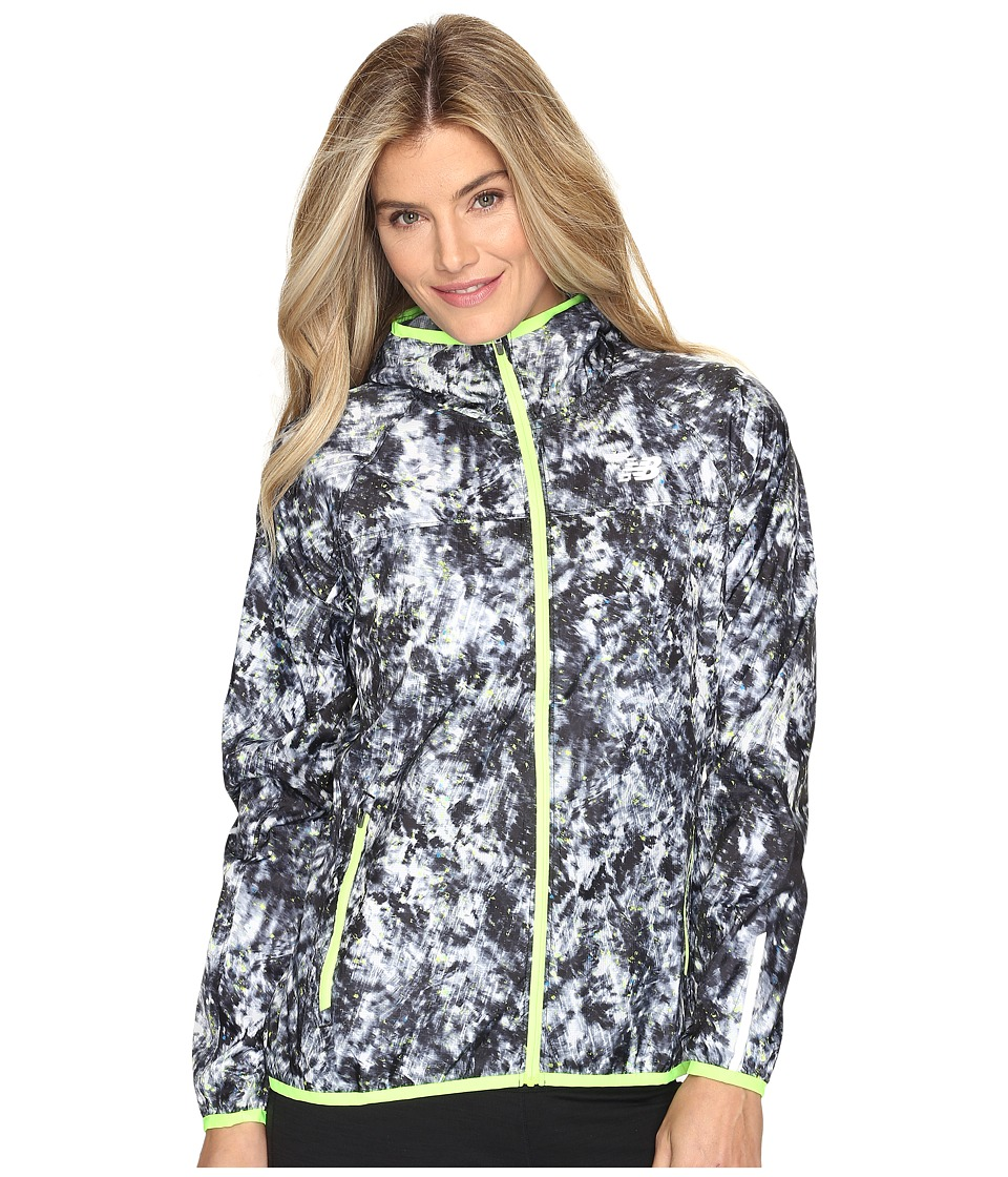 New Balance - Windcheater Jacket Printed (White Tie-Dye Floral) Women's Coat