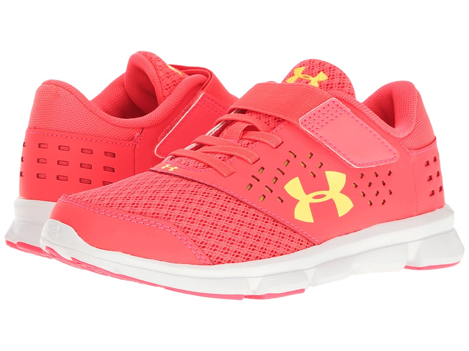Under Armour Kids - UA Micro Rave Run AC (Little Kid) (Sirens Coral/White/Tokyo Lemon) Girls Shoes