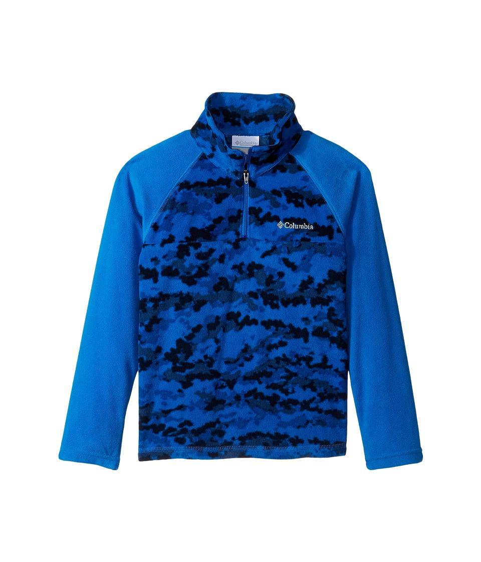 Columbia Kids - Glacial II Print 1/2 Zip (Little Kids/Big Kids) (Super Blue Camper Camo) Boy's Sweatshirt