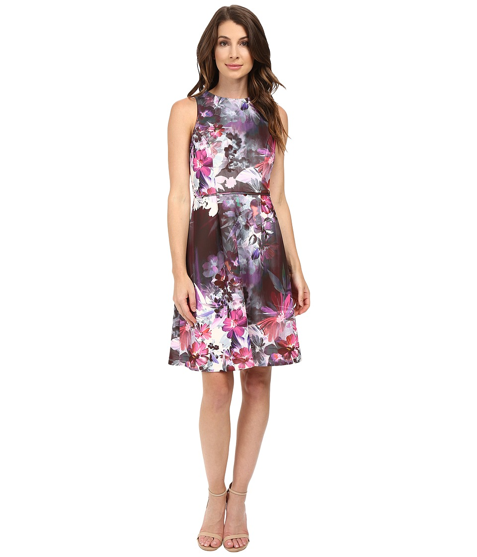 Adrianna Papell - Placed Print Fit Flare Scuba Dress (Pink Multi) Women's Dress