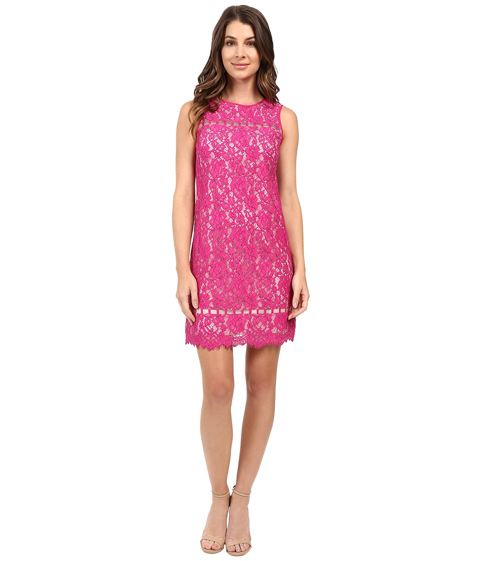 Adrianna Papell - Lace Shift with Ladder Trim Details (Hot Pink) Women's Dress