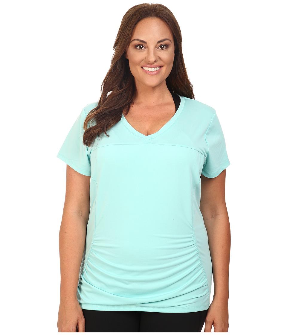 Marika Curves - Plus Size Elizabeth Slimming Tee (Pool Blue) Women's Workout