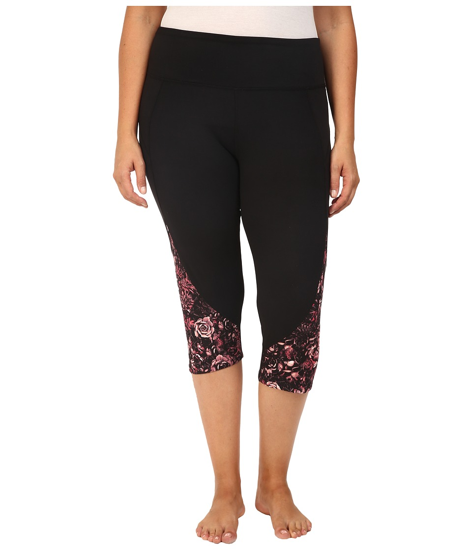 Marika Curves - Pieced High Rise Capri Leggings (Atomic Tangerin) Women's Workout
