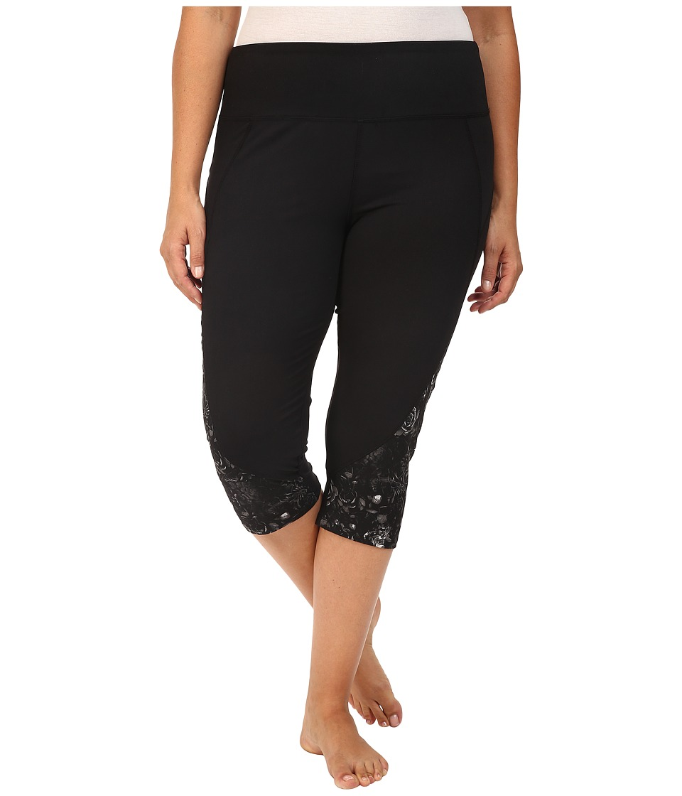 Marika Curves - Pieced High Rise Capri Leggings (Black) Women's Workout