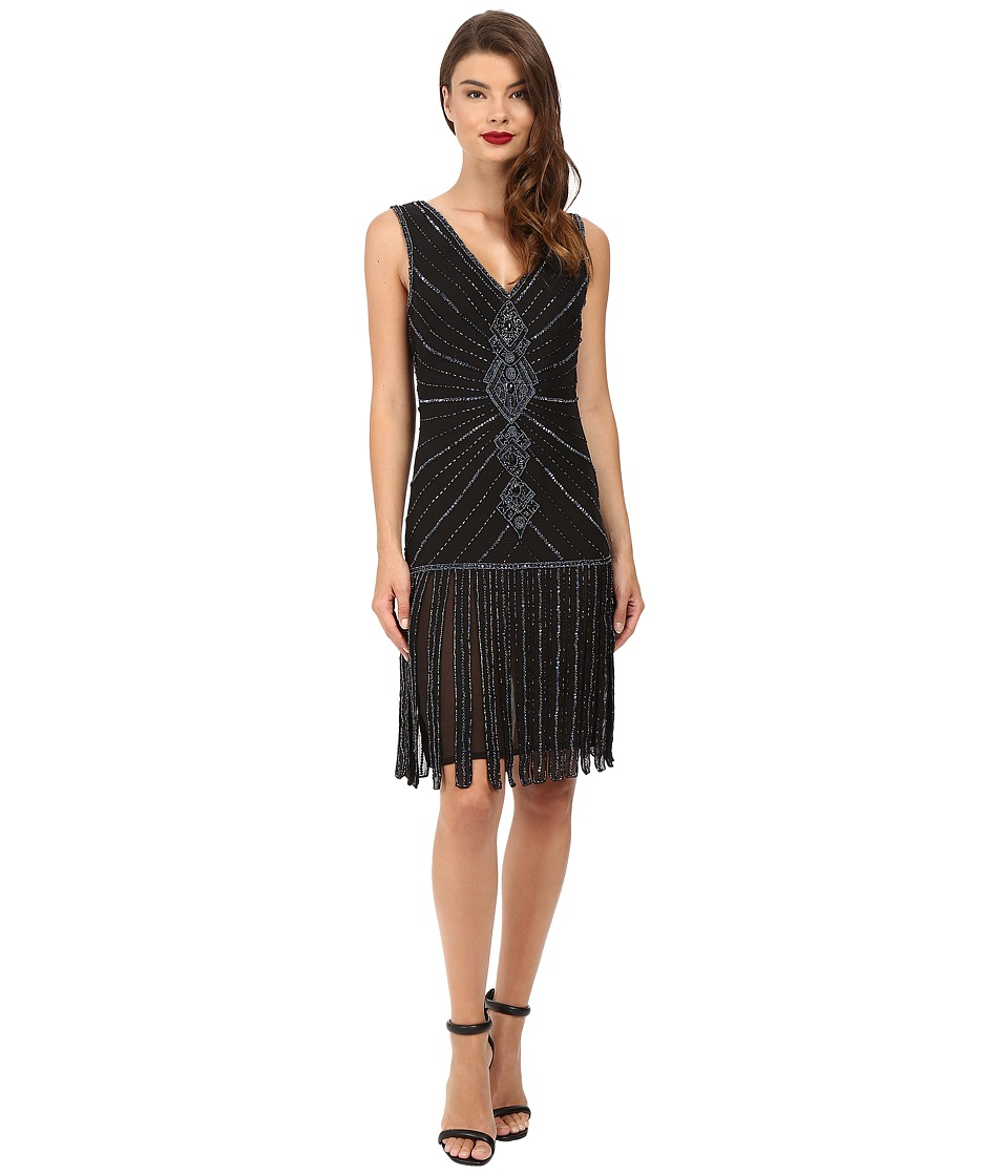 Unique Vintage - Deco Beaded Aelita Flapper Dress (Black) Women's Dress