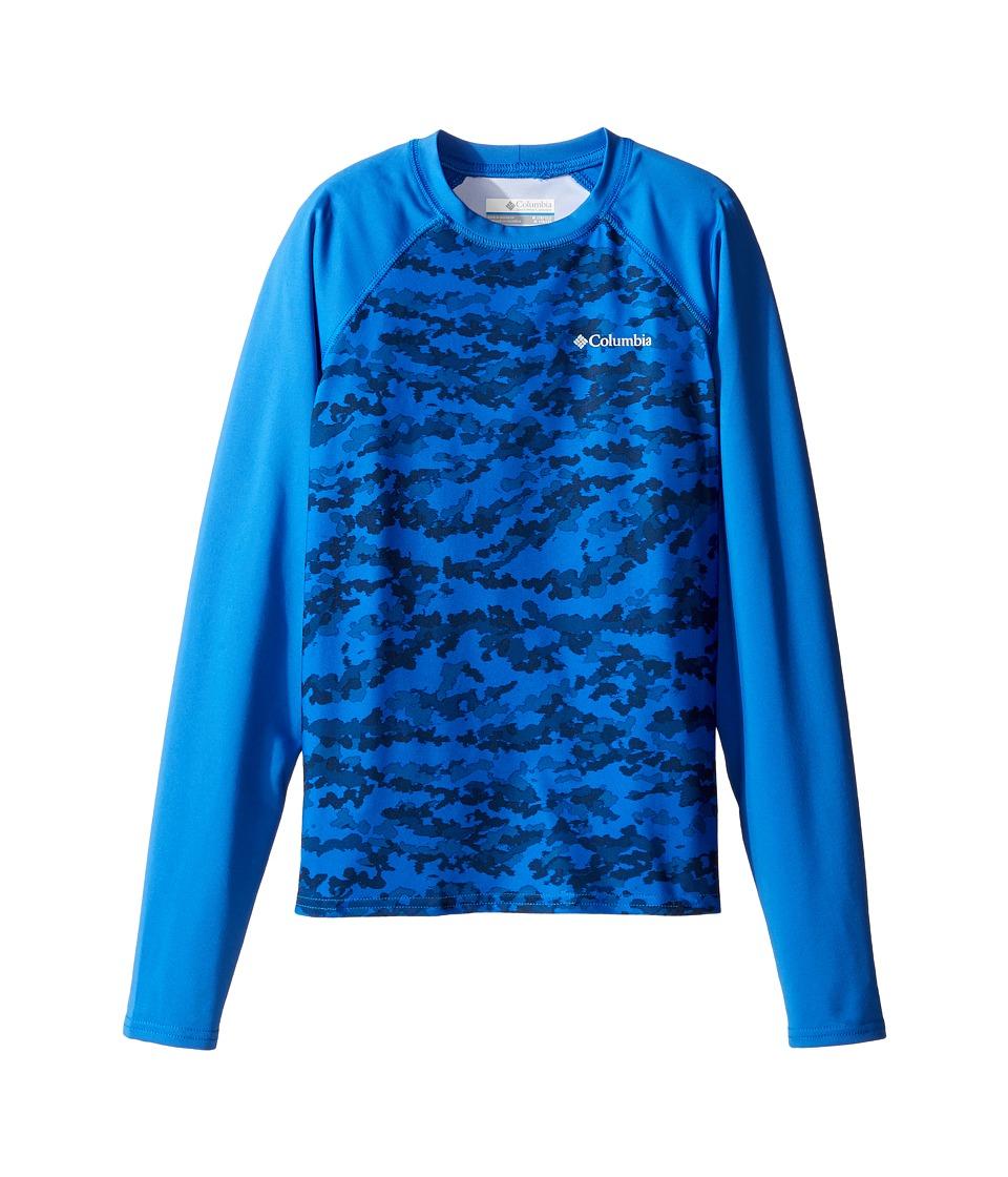 Columbia Kids - Mini Breaker Printed Long Sleeve Sunguard (Little Kids/Big Kids) (Super Blue Camo/Stormy Blue) Boy's Swimwear