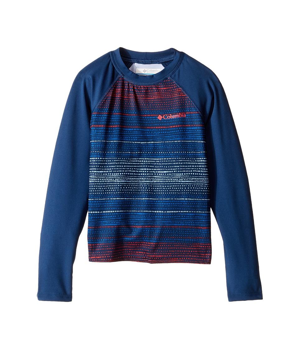 Columbia Kids - Mini Breaker Printed Long Sleeve Sunguard (Little Kids/Big Kids) (Sunset Red Dotty Dye/Carbon) Boy's Swimwear