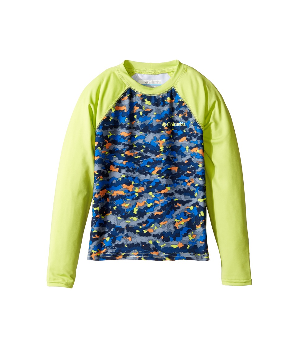 Columbia Kids - Mini Breaker Printed Long Sleeve Sunguard (Little Kids/Big Kids) (Stormy Blue Camo/Voltage) Boy's Swimwear