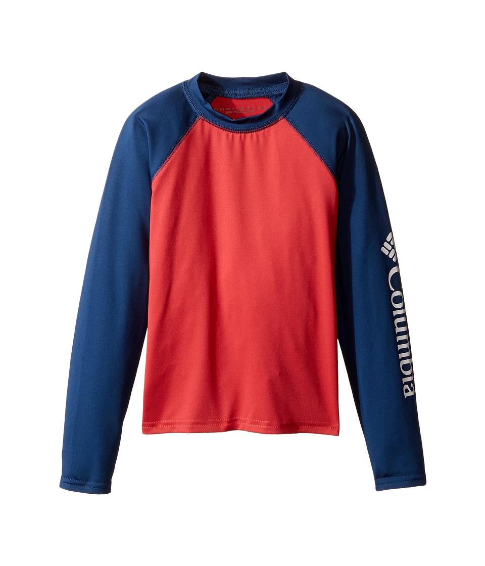 Columbia Kids - Mini Breakertm Long Sleeve Rashguard (Little Kids/Big Kids) (Sunset Red/Carbon) Boy's Swimwear
