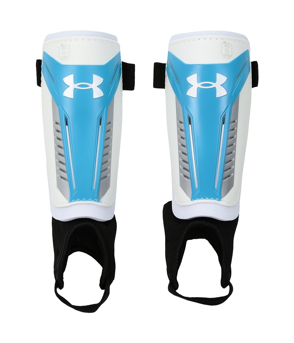 Under Armour - Challenge Shinguard (Youth) (White/Meridian Blue/Meridian Blue) Athletic Sports Equipment